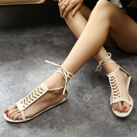 American new cross straps lace flat Roman sandals fashion shoes summer students