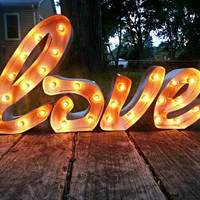 Plug in LOVE Cursive Light-up Marquee Sign
