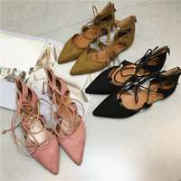 Pointed Flats Shoes Gray-Black Cross Strap Shoes