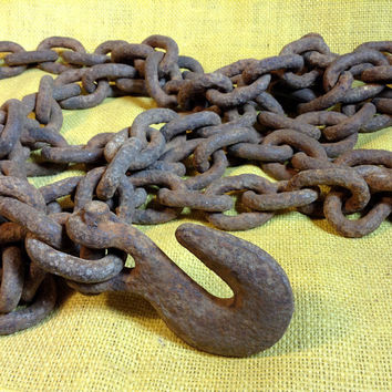 Antique Heavy Iron Chain Logging, Farming, Marine, Industrial - Rustic Decor - Rusty Color - 130 Inches Long