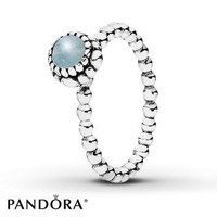 PANDORA Birthstone Ring Aquamarine Sterling Silver