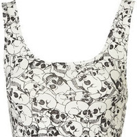 All Over Skull Bralet - Tops  - Clothing  - Topshop