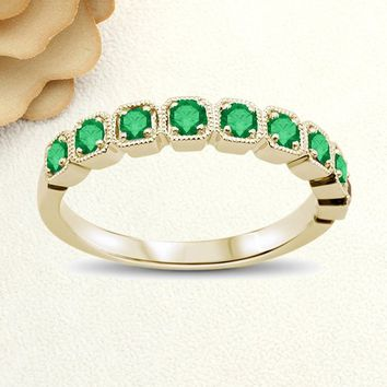 14K Solid Gold Promise Ring Yellow Gold With 0.47ct Natural Emerald Stackable Wedding Band