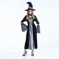 DCCKH6B Long sexy Witch Costume Deluxe Adult Womens Magic Moment Costume Adult Wizard of Oz Khecari cosplay halloween costumes