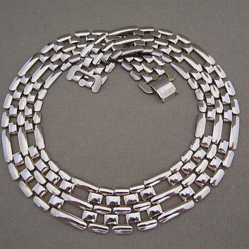 Wide Silver Metal Vintage Collar Necklace