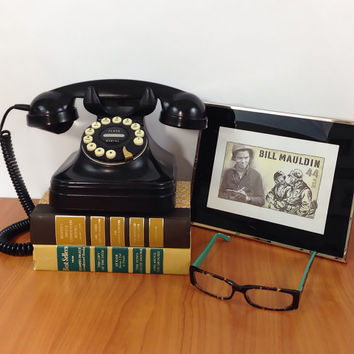 Retro Telephone Black Rotary Push Button /  Art Deco / Father's Day Gift / Gift for Him