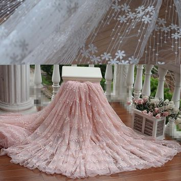 Free shipping width120cm Pink  Vintage Embroidered Lace Fabric  , Wedding Gown Lace Fabric  bridal gown