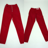 1980s red Bongo jeans, cotton denim high waist pants, Small, 6