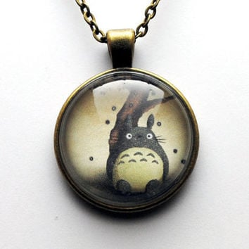 Totoro Glass Dome Necklace in Antique Bronze by resinapocalypse