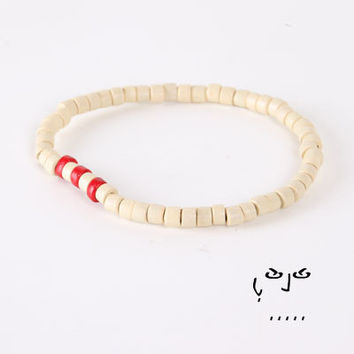 VujuWear Off White/Red Wood Men's Beaded Stretch Bracelet