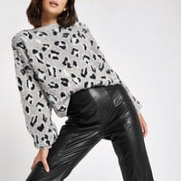 White leopard print knitted sweater - Sweaters - Knitwear - women