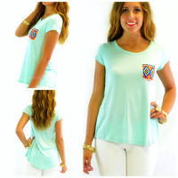 Rio Rancho Mint Front Pocket Short Sleeve Top