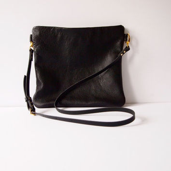 FLOTTA Black Leather Cross body Bag Purse - Midnight BLACK LEATHER adjustable shoulder strap by Jeanie Deans