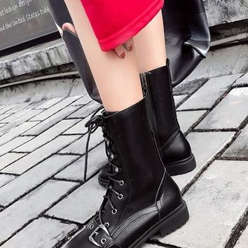 New Army Green Round Toe Lace-up Zipper Chunky Fashion Boots