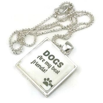 Mama Designs Dogs Are My Best Friend Inspiring Pendant Style Necklace in Sterling Silver or Leather | Overstock.com Shopping - The Best Deals on Necklaces