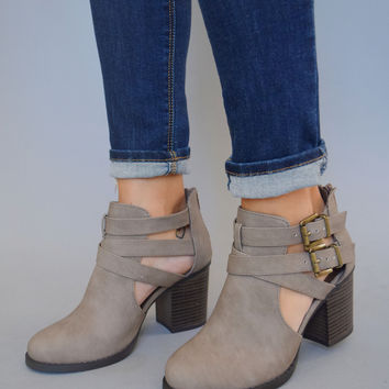 Aurora Cutout Booties Grey