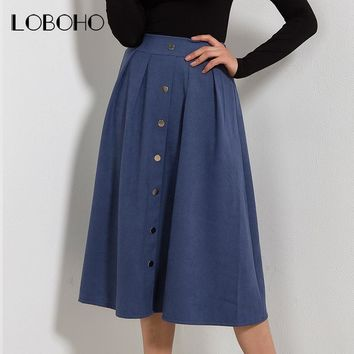 High Waist Skirt Autumn Spring 2018 New Arrival Fashion Suede Leather Long Skirt Pleated Single Buttons Casual Midi Skirts Women