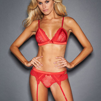 Lila Lace And Satin Bra Set