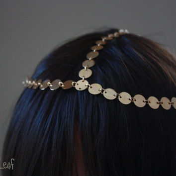 SALE 3-strand Gold coin head piece, Harlow Headpiece, Goddess hair,  Nicole Richie inspired Hair chain, Hair Jewelry, Headband, headdress