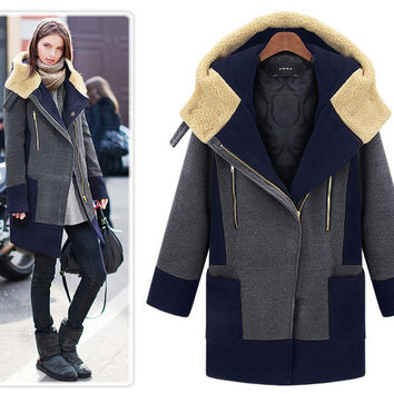 Women Winter Hooded Wool Coat Plus Size 5XL Color Patchwork Cotton Padded Thick Long Outwear Coats Abrigos Mujer Invierno