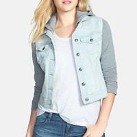 Jessica Simpson 'Pixie' Crop Knit & Denim Jacket | Nordstrom