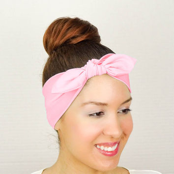 Turban Bow Head Wrap Bow Pink Bow Headband Yoga Headband Fitness Headband Knit Turban Headband Workout Headband Cheerleader Headband