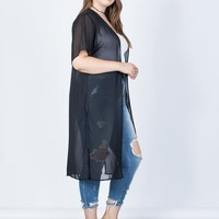 Plus Size Layer Up Sheer Cardigan