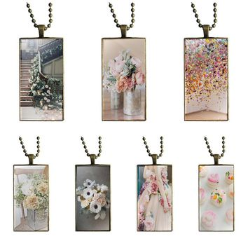For Kids Beads Tumblr Supre Comic Floral Fashion Glass Cabochon Pendant Necklace With Women Bronze Plated Statement Jewelry
