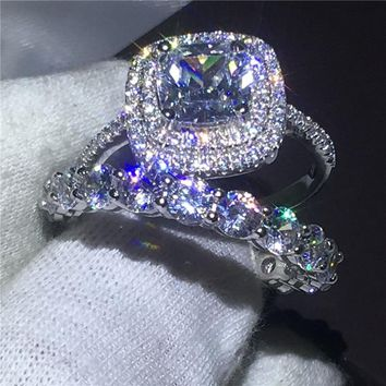 Infinity Jewelry Female 925 Sterling silver ring set Full AAAAA Zircon Cz stone Engagement wedding band rings for women Gift