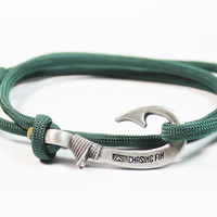 Hunter Green Fish Hook Bracelet (New)