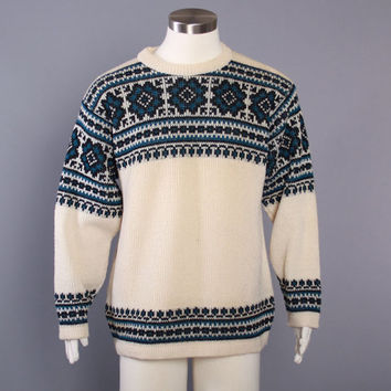 60s Men's NORDIC SKI SWEATER / 1960s Thick Warm Norwegian Wool Pullover M L