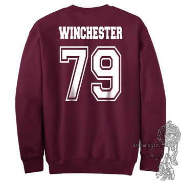 Winchester 79 Dean Winchester Men Of Letters Stamus Contra Malum Supernatural printed on Maroon Crewneck Sweatshirt