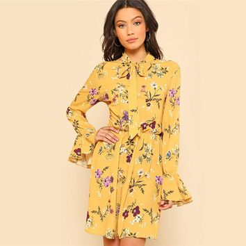 Yellow Floral Ruffle Detail Tie Neck Dress