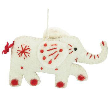 White Elephant Fair Trade Felt Tree Ornament