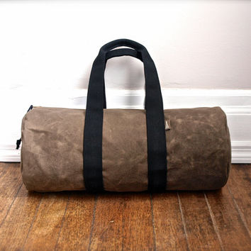 Duffle bag in waxed tan canvas - Volcano Store