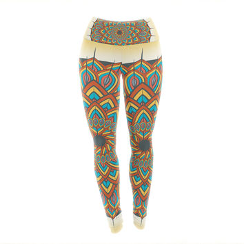 "Famenxt ""Floral Mandala"" Multicolor Geometric Yoga Leggings"