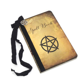 Witch's Spell Book, Pentagram Journal, Halloween Notebook, Wiccan Book of Shadows, Magic Spell Book, Upcycled, Halloween Guest Book