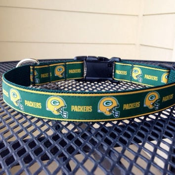 Dog Collar Made from Greenbay Packers Ribbon