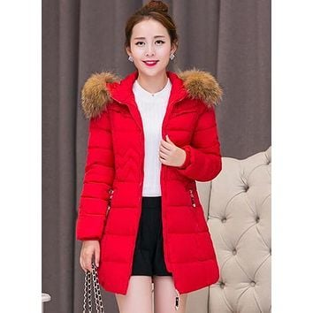 Parka women winter Korean Slim Mid long term Big wool collar Cotton padded jacket Plus size women winter jacket 3xl 4xl 5xl 6x