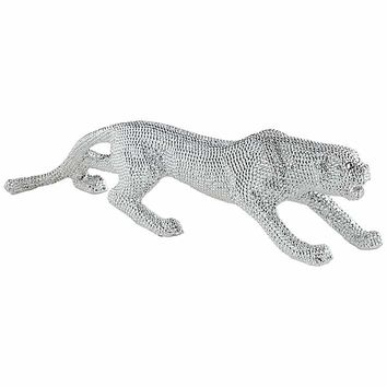 """Prowling 23 1/2"""" Wide Electroplated Silver Leopard Sculpture - #7F227 
