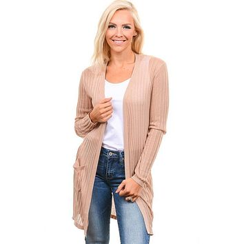 Champagne Ribbed Light Weight Cardigan