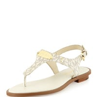 Logo-Plate Leather Thong Sandal - MICHAEL Michael Kors