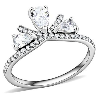 A Perfect Pear Cut Russian Lab Diamond Trilogy Engagement Ring