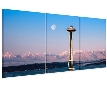 3 Picture Combination Seattle Space Needle City Print Panorama Canvas