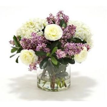 Hydrangeas and Lilac Lilacs with Greenery in Cylinder Vase