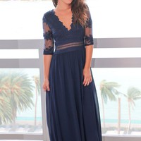 Navy V-Neck Maxi Dress with Mesh Embroidered Sleeves