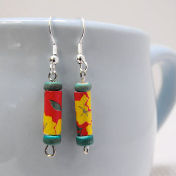 Vintage Yellow Flower Origami Paper Bead Earrings