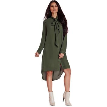 Blusas Femininas Autumn Women Casual Loose Bow Tie Stand Collar Long Sleeve Army Green Long Shirts Blouses Tops