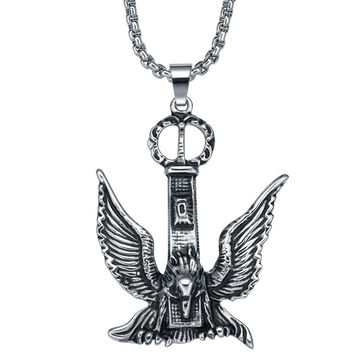 Stainless Steel Soaring Falcon Pendant Necklace
