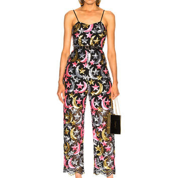 Ashish Sequin Star Moon Jumpsuit in Pink, Metallic & Black | FWRD